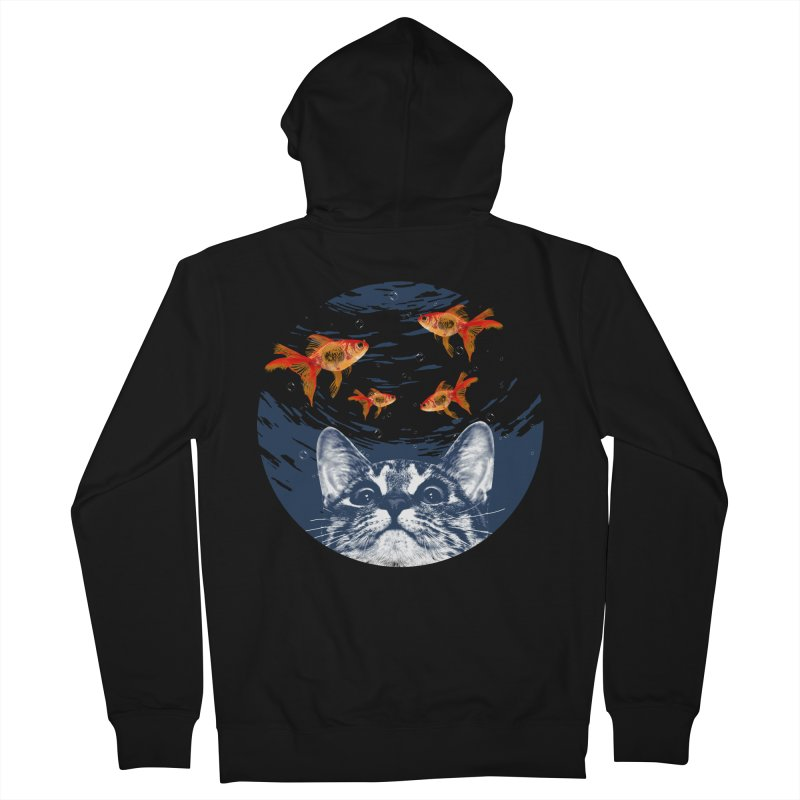 Cat & goldfish Men's French Terry Zip-Up Hoody by clingcling's Artist Shop