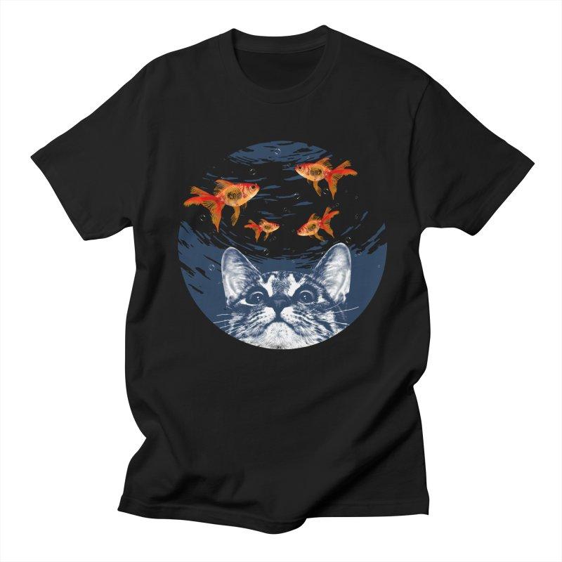 Cat & goldfish Men's Regular T-Shirt by clingcling's Artist Shop