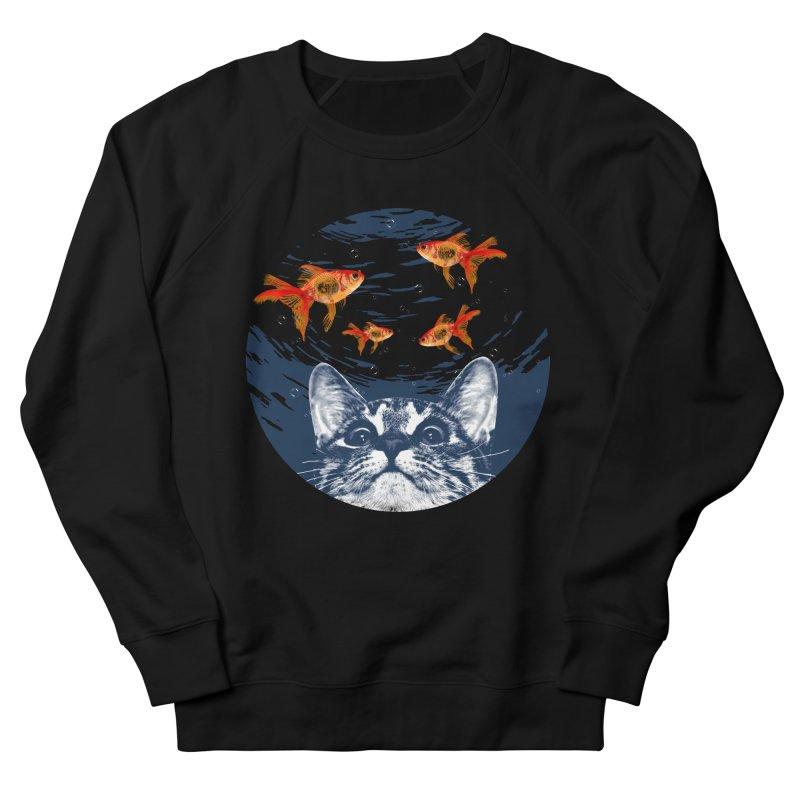 Cat & goldfish Men's French Terry Sweatshirt by clingcling's Artist Shop