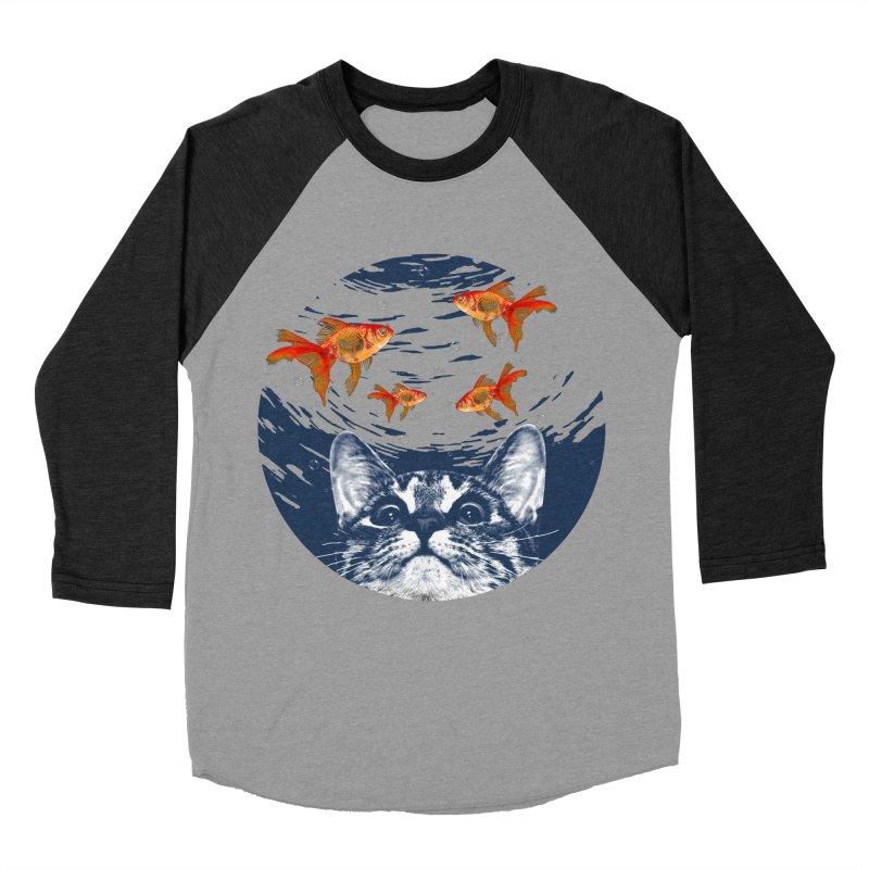 Cat & goldfish Men's Baseball Triblend Longsleeve T-Shirt by clingcling's Artist Shop