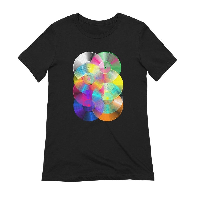 Retro neon colors vinyl Women's Extra Soft T-Shirt by clingcling's Artist Shop