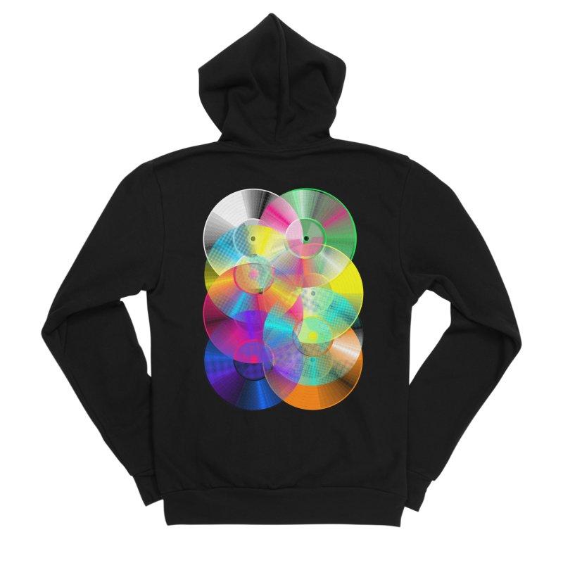 Retro neon colors vinyl Women's Zip-Up Hoody by clingcling's Artist Shop
