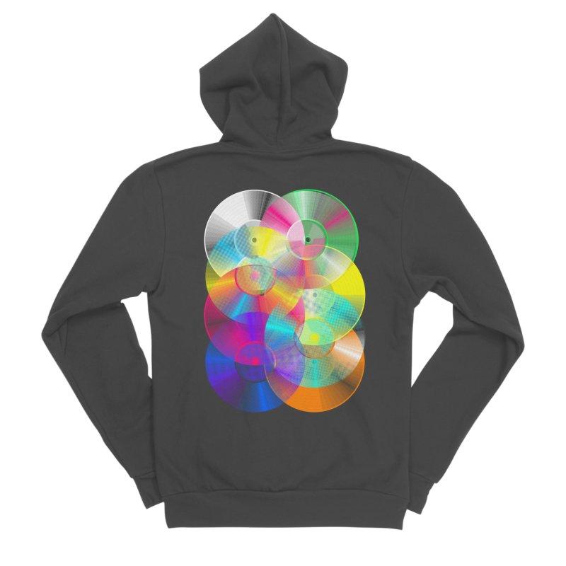 Retro neon colors vinyl Women's Sponge Fleece Zip-Up Hoody by clingcling's Artist Shop