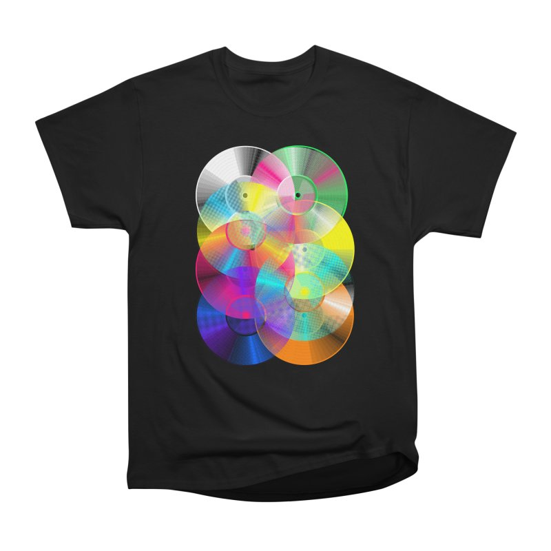 Retro neon colors vinyl Women's Heavyweight Unisex T-Shirt by clingcling's Artist Shop