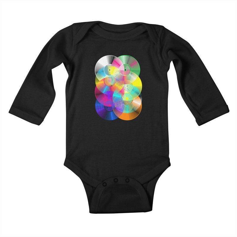 Retro neon colors vinyl Kids Baby Longsleeve Bodysuit by clingcling's Artist Shop