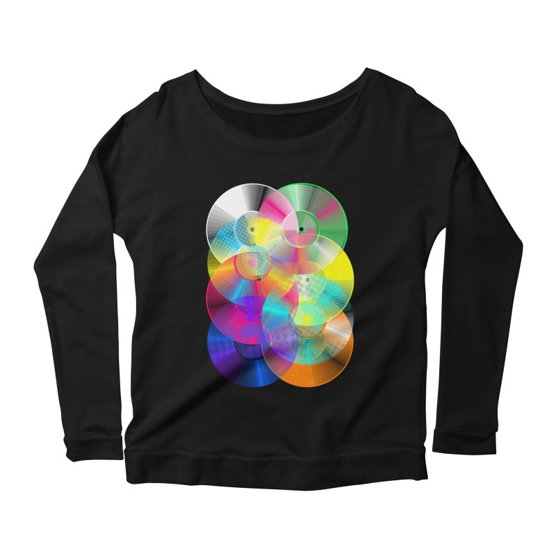 Retro neon colors vinyl Women's Scoop Neck Longsleeve T-Shirt by clingcling's Artist Shop
