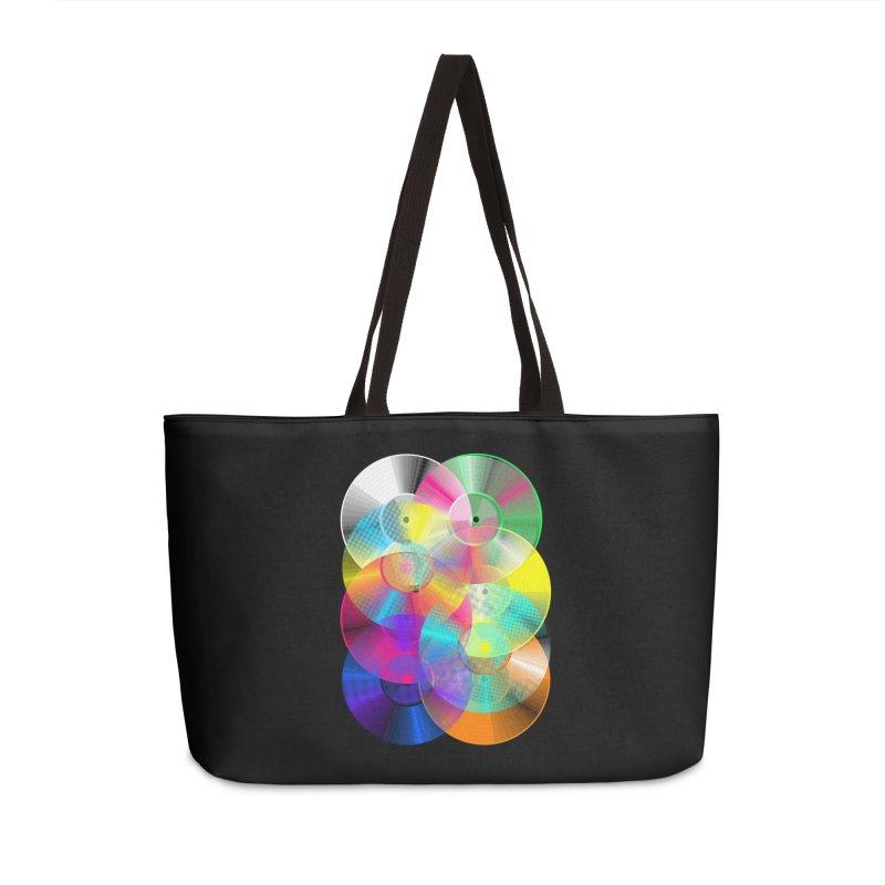 Retro neon colors vinyl Accessories Weekender Bag Bag by clingcling's Artist Shop
