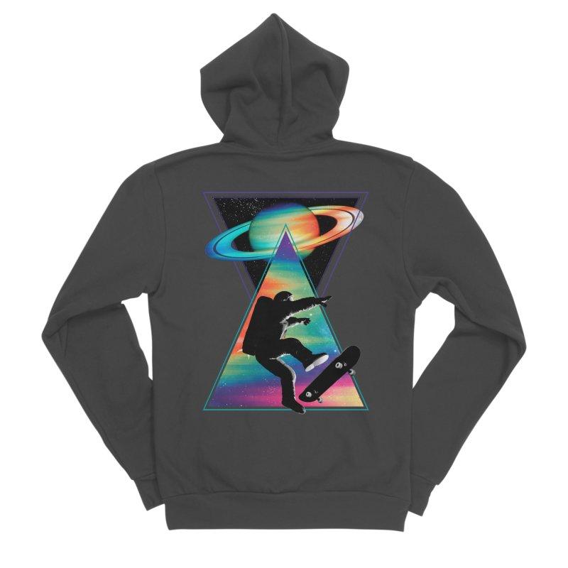 Space skateboarding Men's Sponge Fleece Zip-Up Hoody by clingcling's Artist Shop