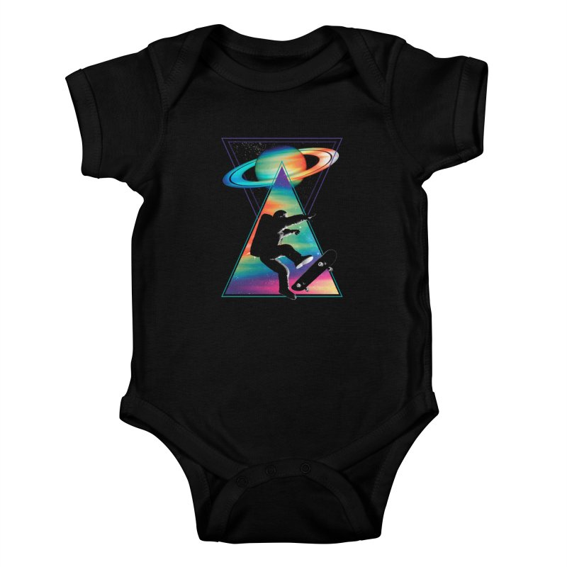 Space skateboarding Kids Baby Bodysuit by clingcling's Artist Shop