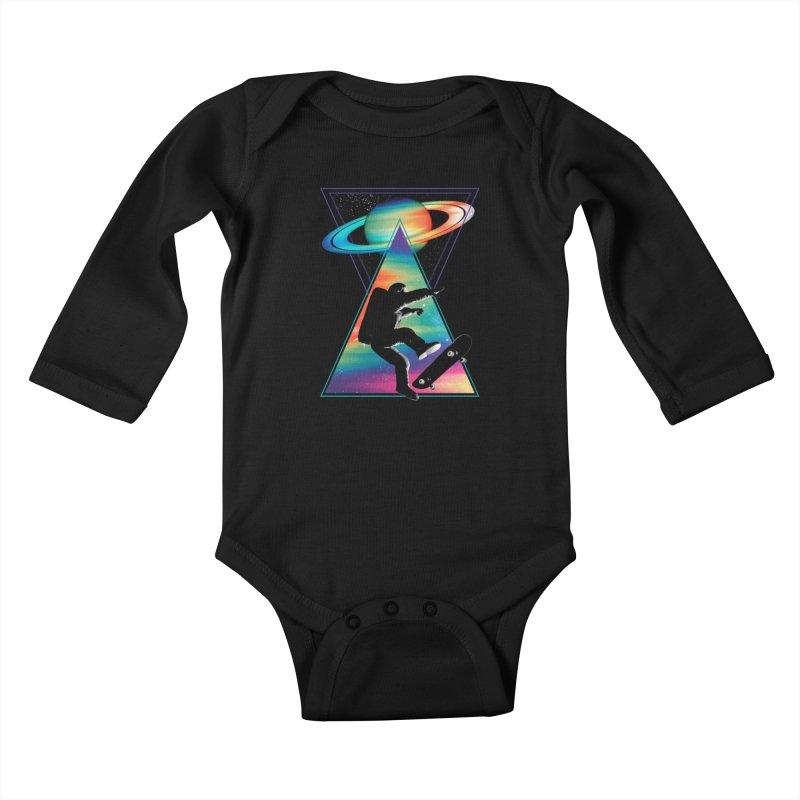 Space skateboarding Kids Baby Longsleeve Bodysuit by clingcling's Artist Shop