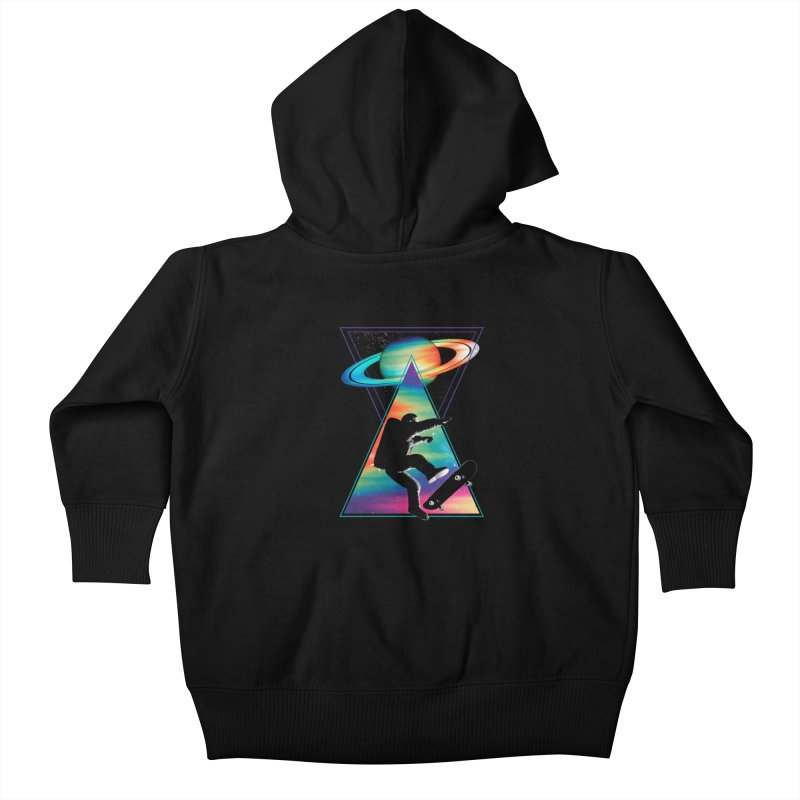 Space skateboarding Kids Baby Zip-Up Hoody by clingcling's Artist Shop