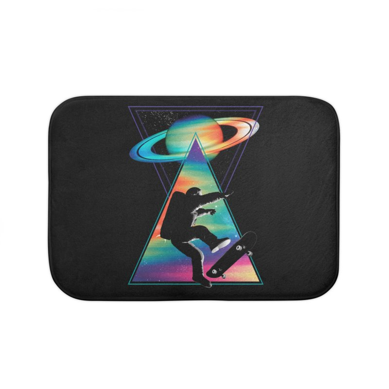 Space skateboarding Home Bath Mat by clingcling's Artist Shop