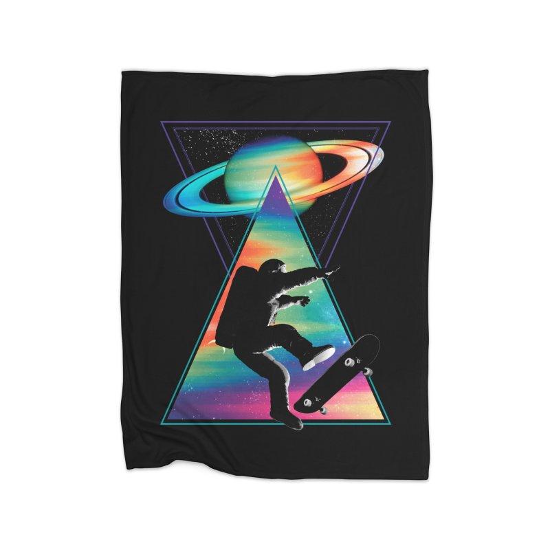 Space skateboarding Home Fleece Blanket Blanket by clingcling's Artist Shop