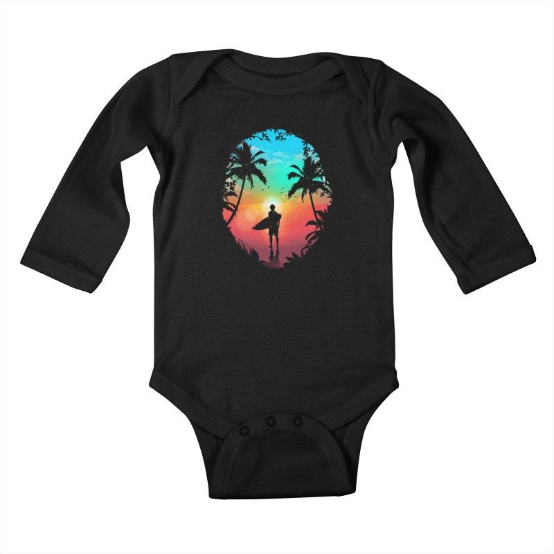 Summer Break Kids Baby Longsleeve Bodysuit by clingcling's Artist Shop