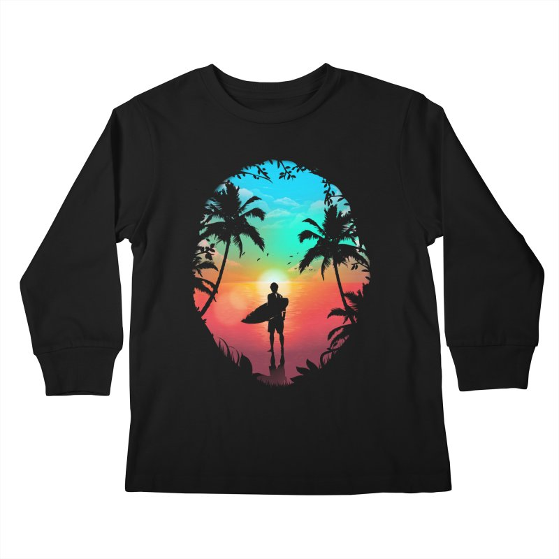 Summer Break Kids Longsleeve T-Shirt by clingcling's Artist Shop