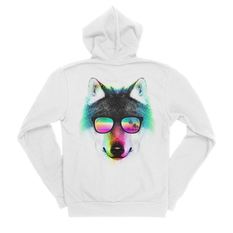 Summer Wolf Men's Sponge Fleece Zip-Up Hoody by clingcling's Artist Shop