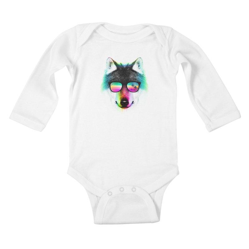 Summer Wolf Kids Baby Longsleeve Bodysuit by clingcling's Artist Shop