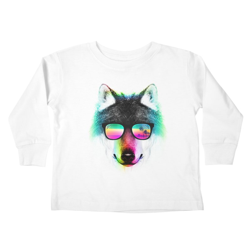 Summer Wolf Kids Toddler Longsleeve T-Shirt by clingcling's Artist Shop