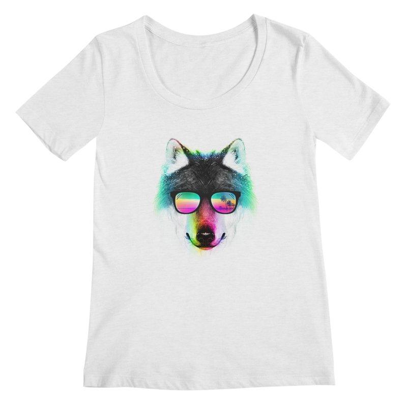 Summer Wolf Women's Regular Scoop Neck by clingcling's Artist Shop