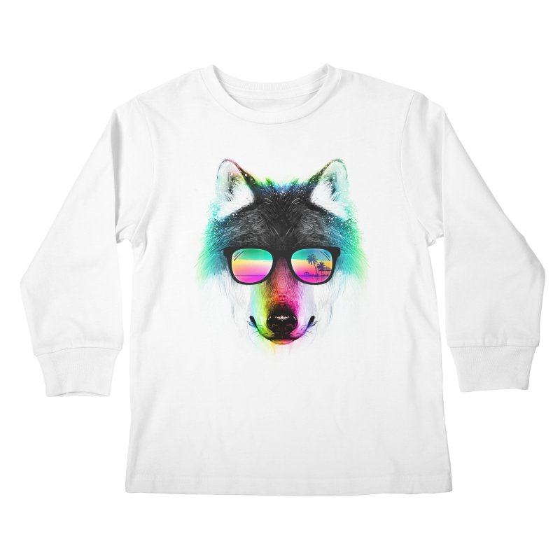 Summer Wolf Kids Longsleeve T-Shirt by clingcling's Artist Shop