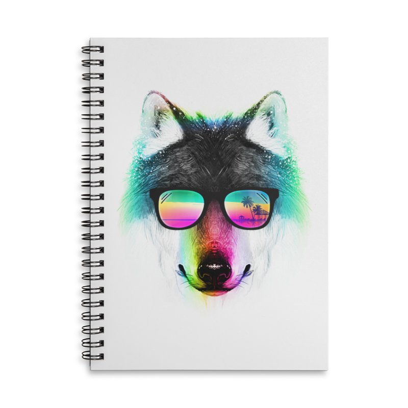 Summer Wolf Accessories Lined Spiral Notebook by clingcling's Artist Shop