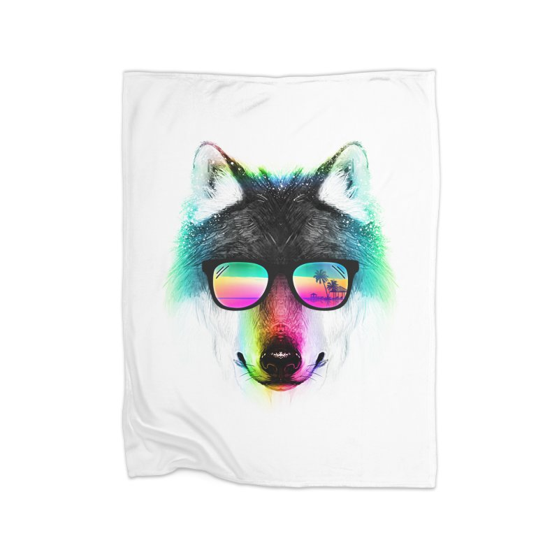 Summer Wolf Home Fleece Blanket Blanket by clingcling's Artist Shop