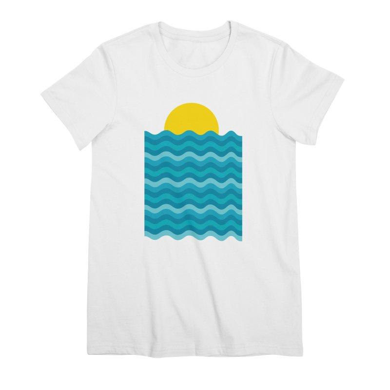 Sunset Waves Women's Premium T-Shirt by clingcling's Artist Shop