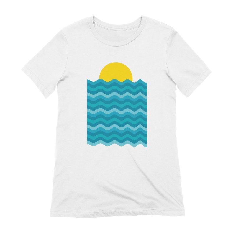 Sunset Waves Women's Extra Soft T-Shirt by clingcling's Artist Shop