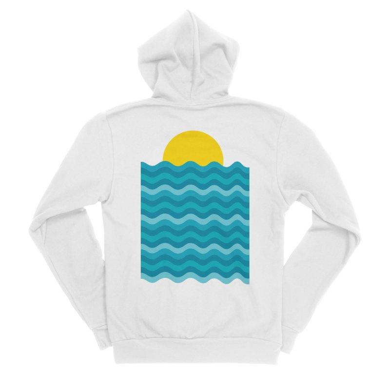 Sunset Waves Men's Sponge Fleece Zip-Up Hoody by clingcling's Artist Shop