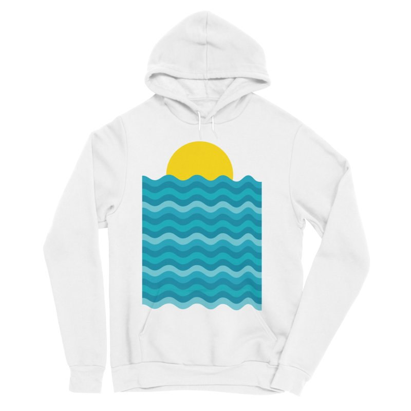 Sunset Waves Men's Sponge Fleece Pullover Hoody by clingcling's Artist Shop