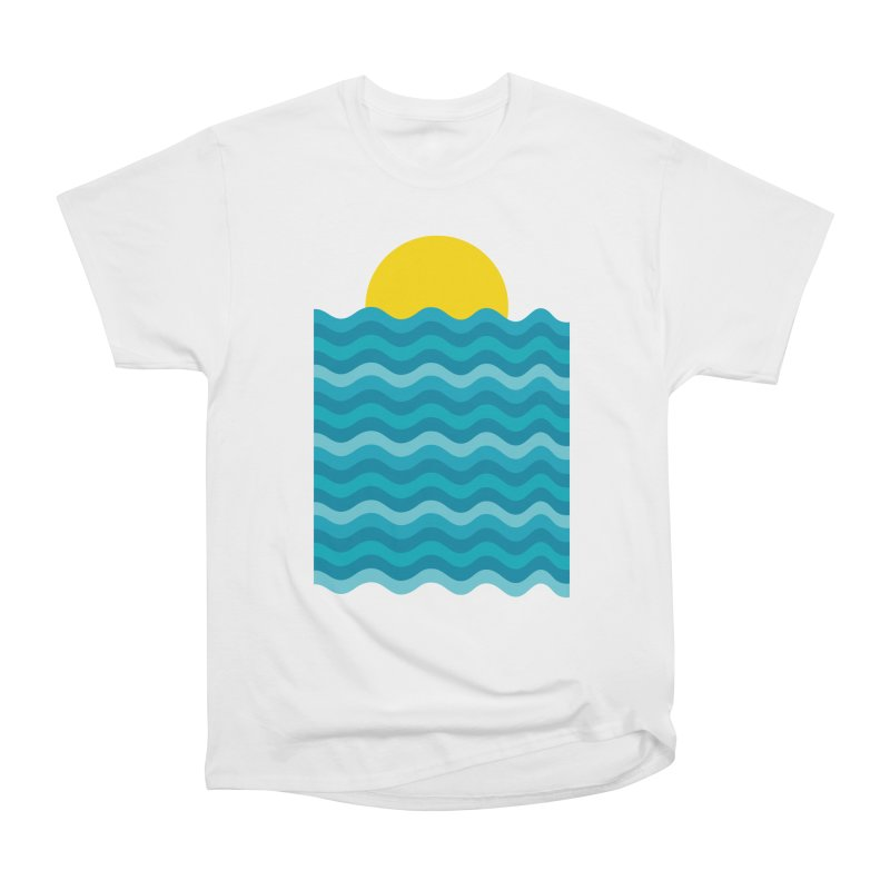Sunset Waves Women's Heavyweight Unisex T-Shirt by clingcling's Artist Shop