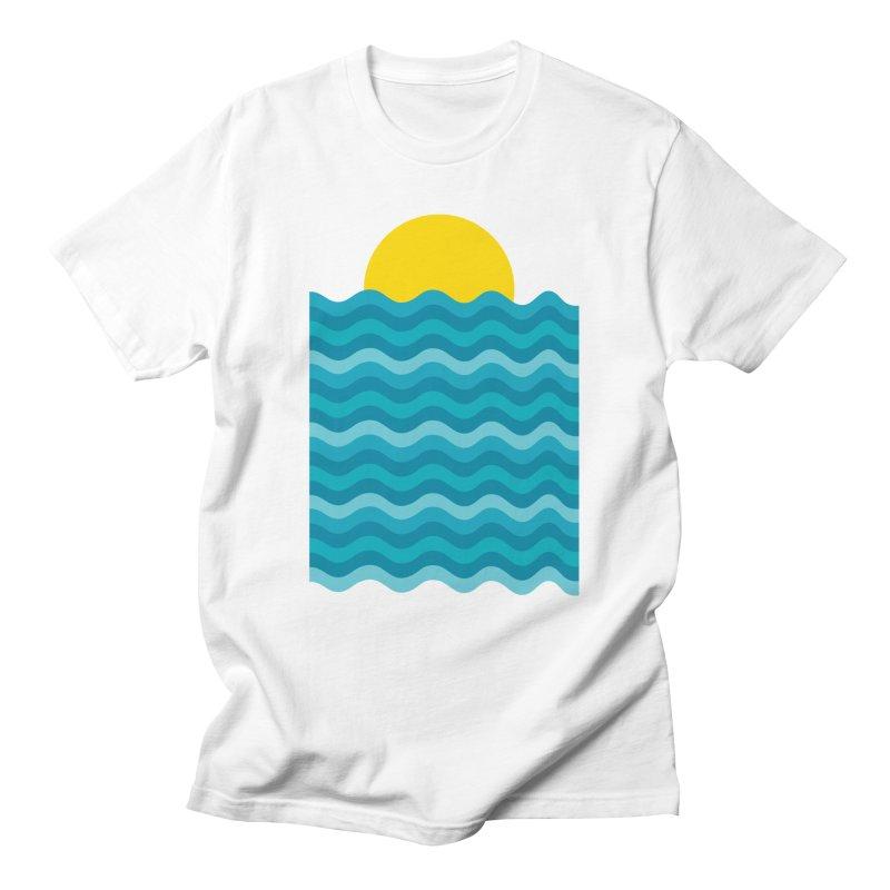 Sunset Waves Men's Regular T-Shirt by clingcling's Artist Shop