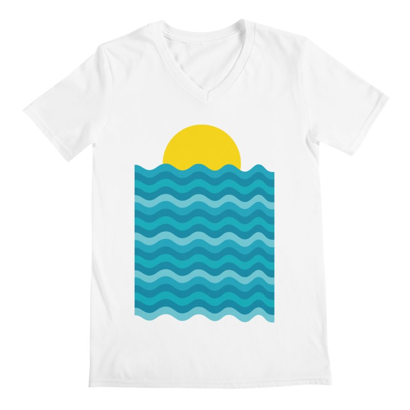 Sunset Waves Men's Regular V-Neck by clingcling's Artist Shop