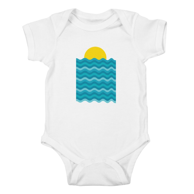 Sunset Waves Kids Baby Bodysuit by clingcling's Artist Shop