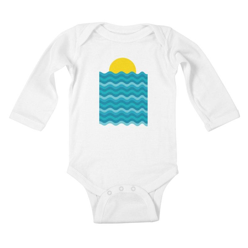 Sunset Waves Kids Baby Longsleeve Bodysuit by clingcling's Artist Shop