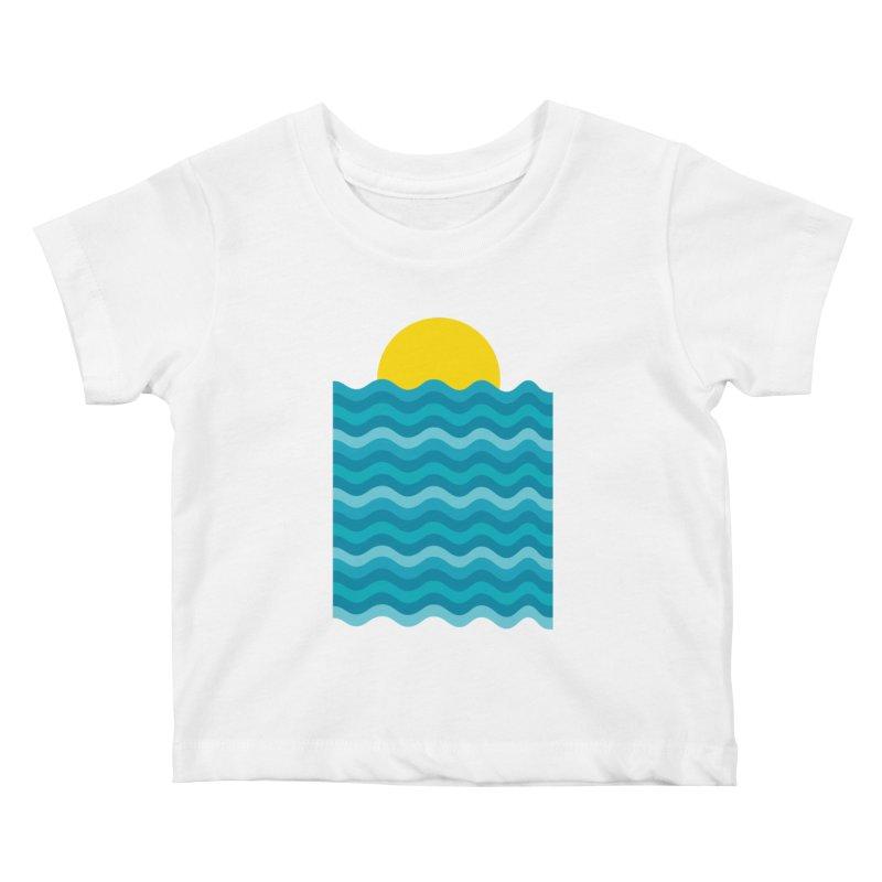 Sunset Waves Kids Baby T-Shirt by clingcling's Artist Shop