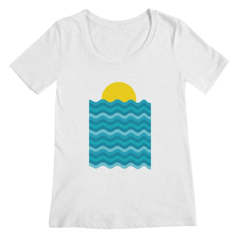 Sunset Waves Women's Regular Scoop Neck by clingcling's Artist Shop