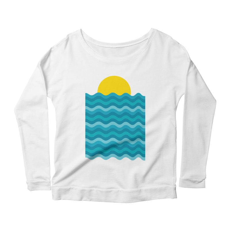 Sunset Waves Women's Scoop Neck Longsleeve T-Shirt by clingcling's Artist Shop