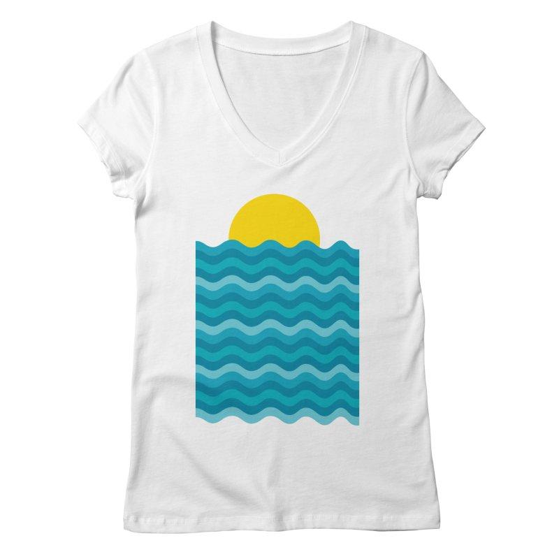 Sunset Waves Women's Regular V-Neck by clingcling's Artist Shop