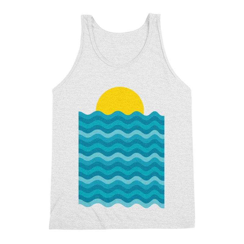 Sunset Waves Men's Triblend Tank by clingcling's Artist Shop