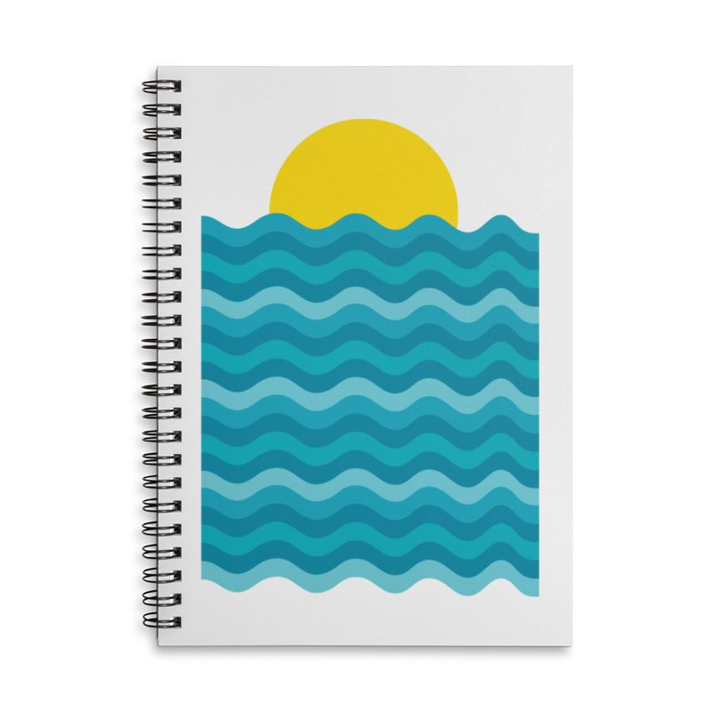 Sunset Waves Accessories Lined Spiral Notebook by clingcling's Artist Shop