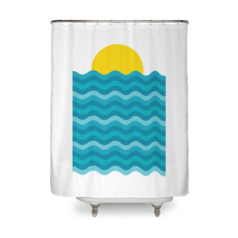 Sunset Waves Home Shower Curtain by clingcling's Artist Shop