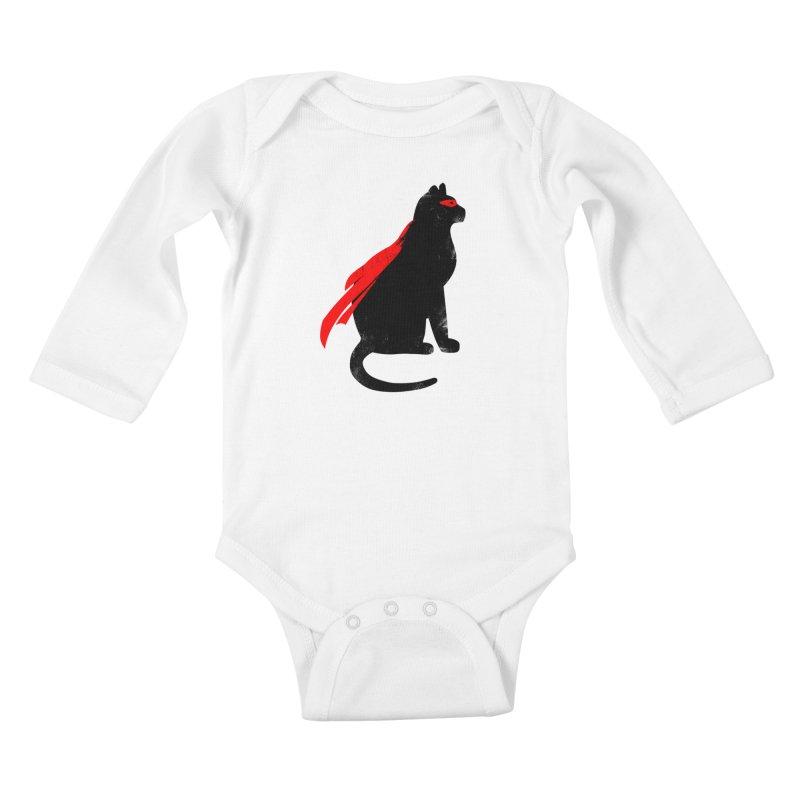Super Hero cat Kids Baby Longsleeve Bodysuit by clingcling's Artist Shop
