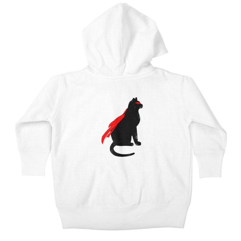 Super Hero cat Kids Baby Zip-Up Hoody by clingcling's Artist Shop