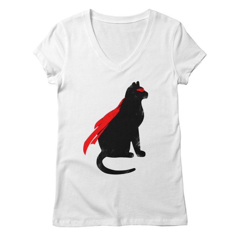 Super Hero cat Women's Regular V-Neck by clingcling's Artist Shop