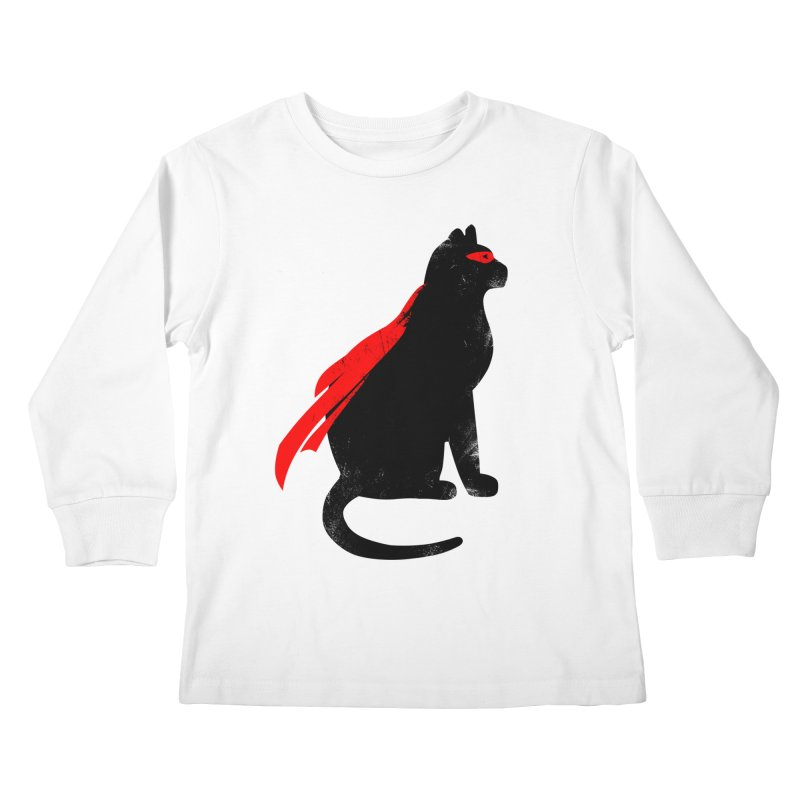 Super Hero cat Kids Longsleeve T-Shirt by clingcling's Artist Shop