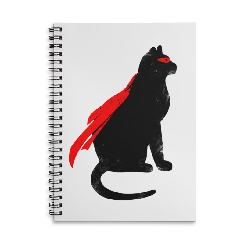 Super Hero cat Accessories Lined Spiral Notebook by clingcling's Artist Shop
