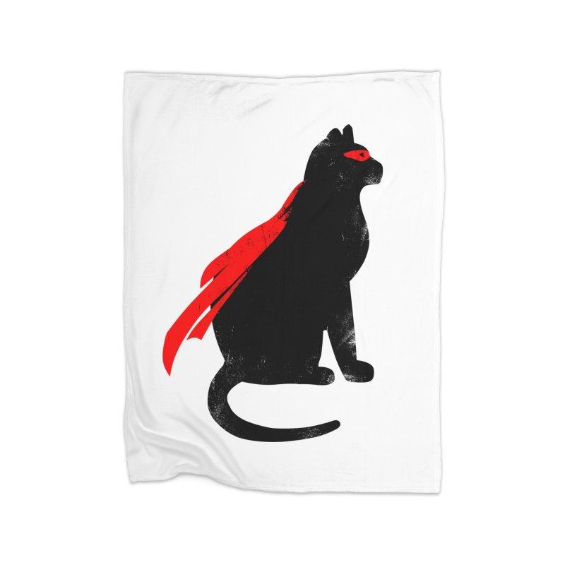 Super Hero cat Home Fleece Blanket Blanket by clingcling's Artist Shop