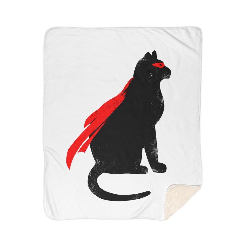 Super Hero cat Home Sherpa Blanket Blanket by clingcling's Artist Shop