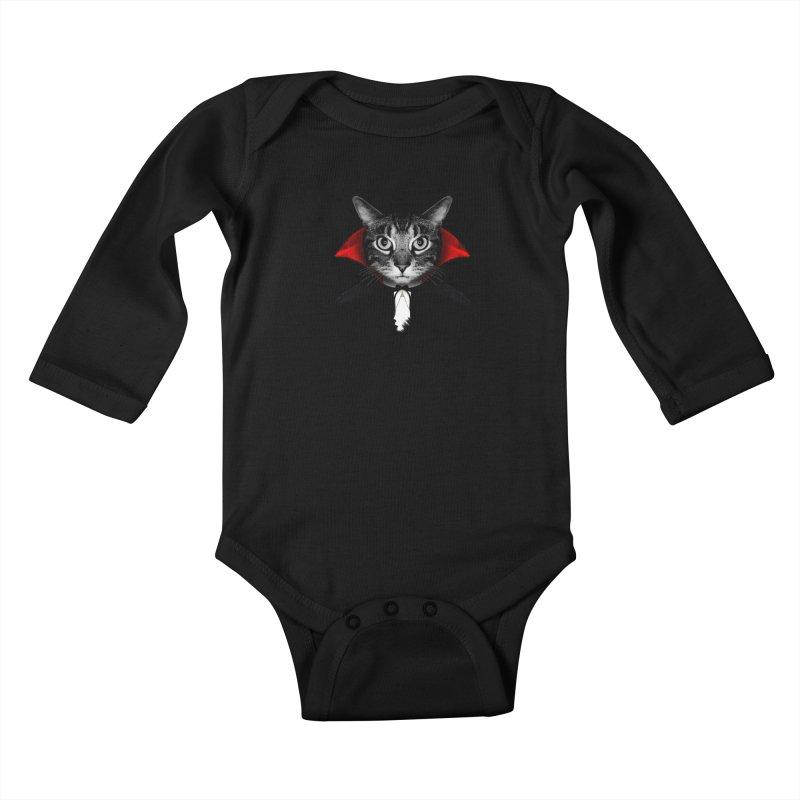 Vampire cat Kids Baby Longsleeve Bodysuit by clingcling's Artist Shop